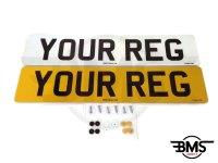 Set Of Car Number Plates DVLA / MOT Legal UK Front & Rear + Fitting Kit Included