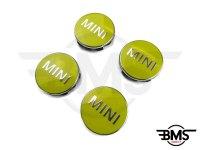 One / Cooper / S Yellow Wheel Centre Badge Hub Caps X4 F55 F56