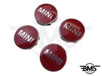 One / Cooper / S Dark Red Wheel Centre Badge Hub Caps X4 F55 F56