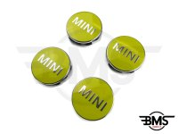One / Cooper / S Yellow Wheel Centre Badge Hub Caps X4 F55 F56
