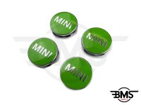 One / Cooper / S Green Wheel Centre Badge Hub Caps X4 F55 F56