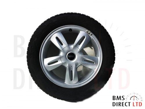 """15"""" Silver 5 Star Spoke Rocket 93 Alloy Wheel & Tyre R50 R52 R53"""