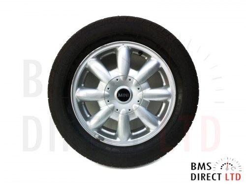 """15"""" Silver 8 Spoke LA 82 Alloy Wheel & Tyre R50 R52 R53"""